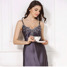 Silk Pajamas Sexy Lace Suspenders for a Night Dress